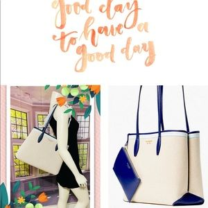 Kate Spade Blue Canvas Large Tote with Wristlet